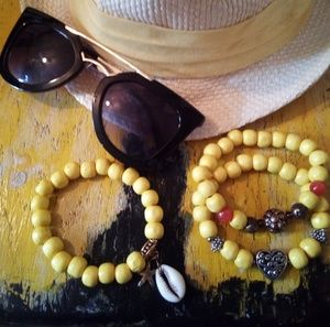 Ladies Yellow wood stretch bracelets $7 each